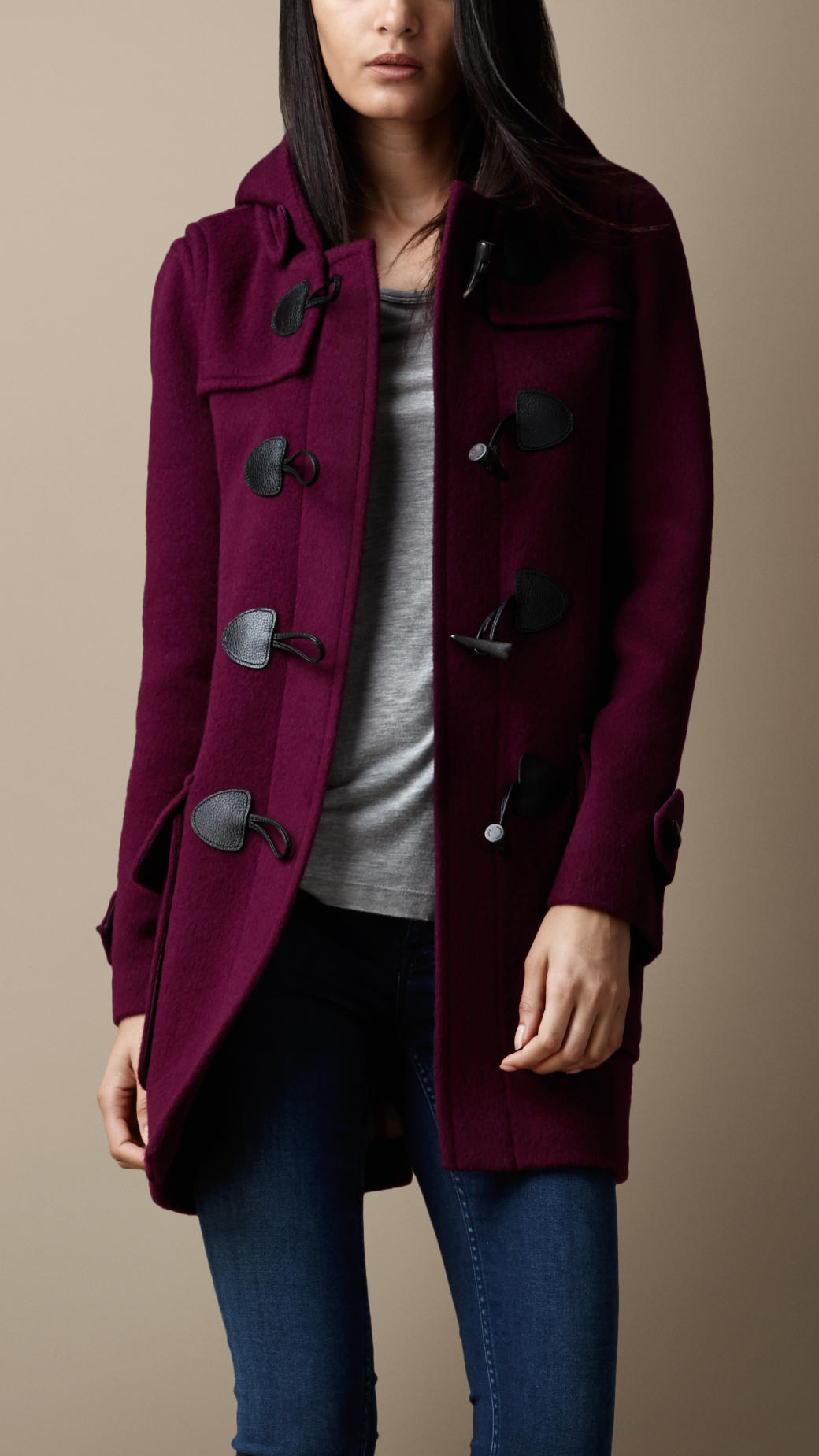 Burberry Wool Fitted Duffle Coat in Purple | Lyst
