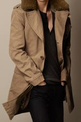 Burberry Shearling Collar Heritage Trench Coat - Lyst