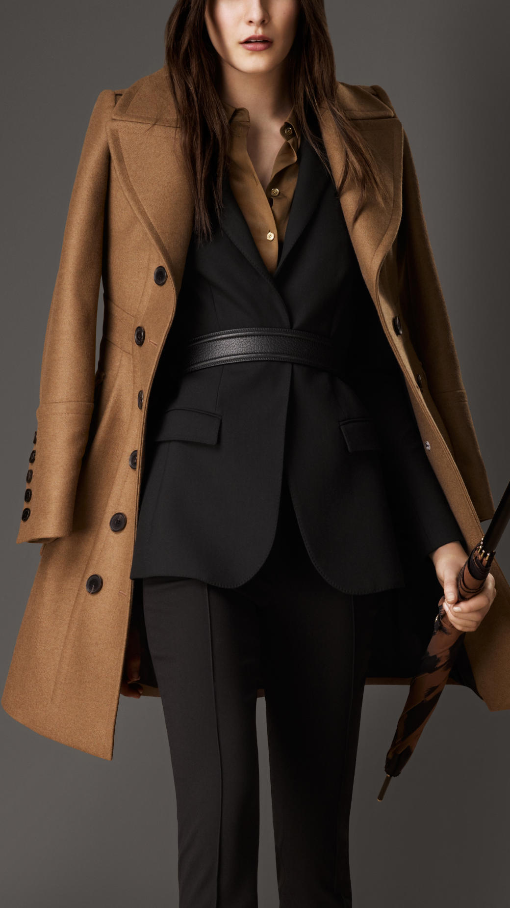 Lyst - Burberry Bonded Wool Cashmere Military Coat in Brown cfd2f0a93