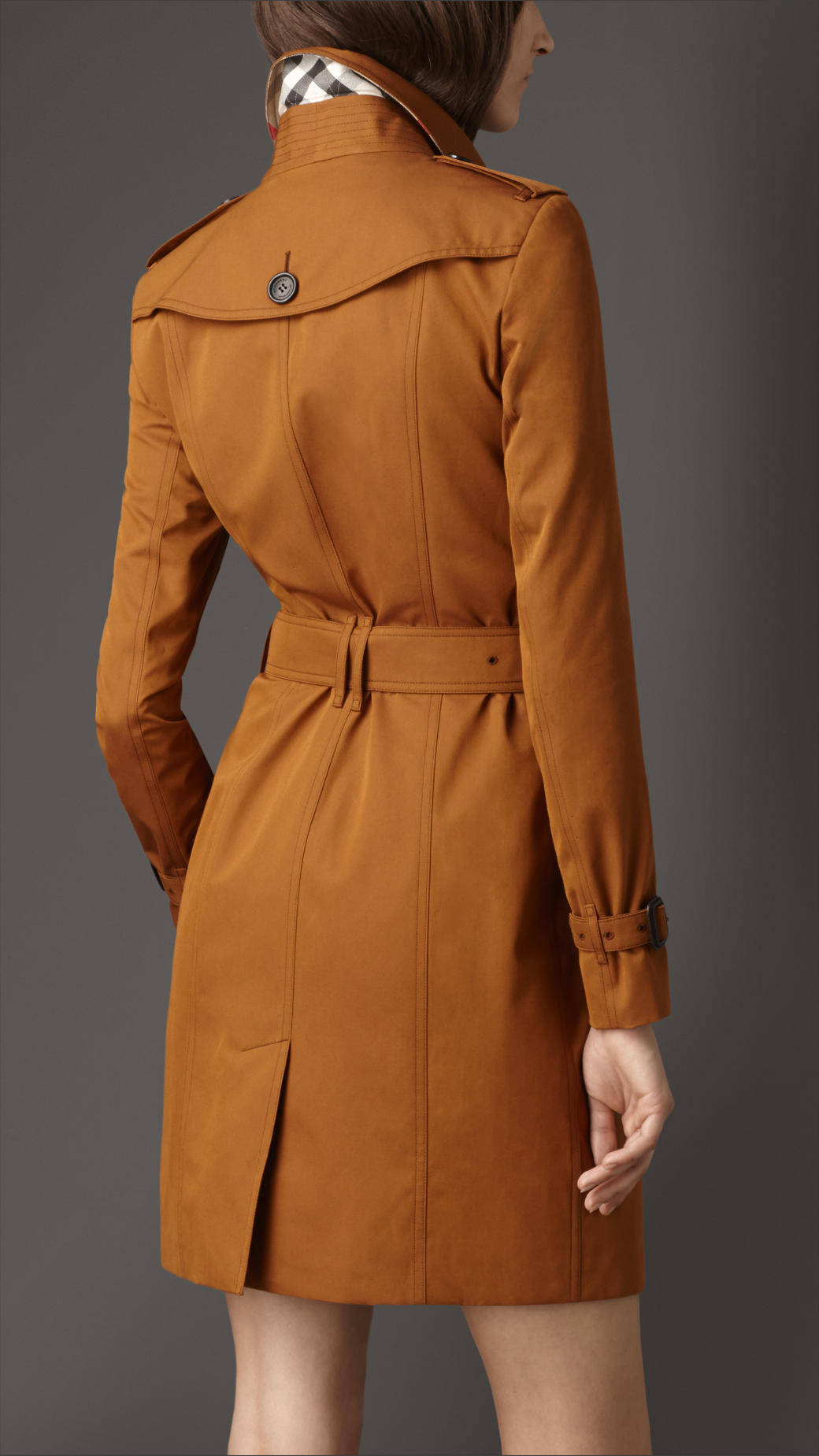 Burberry Long Slim Fit Gabardine Trench Coat in Brown | Lyst
