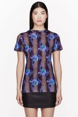 Christopher Kane Blue Floral Print Bouquet T_shirt - Lyst