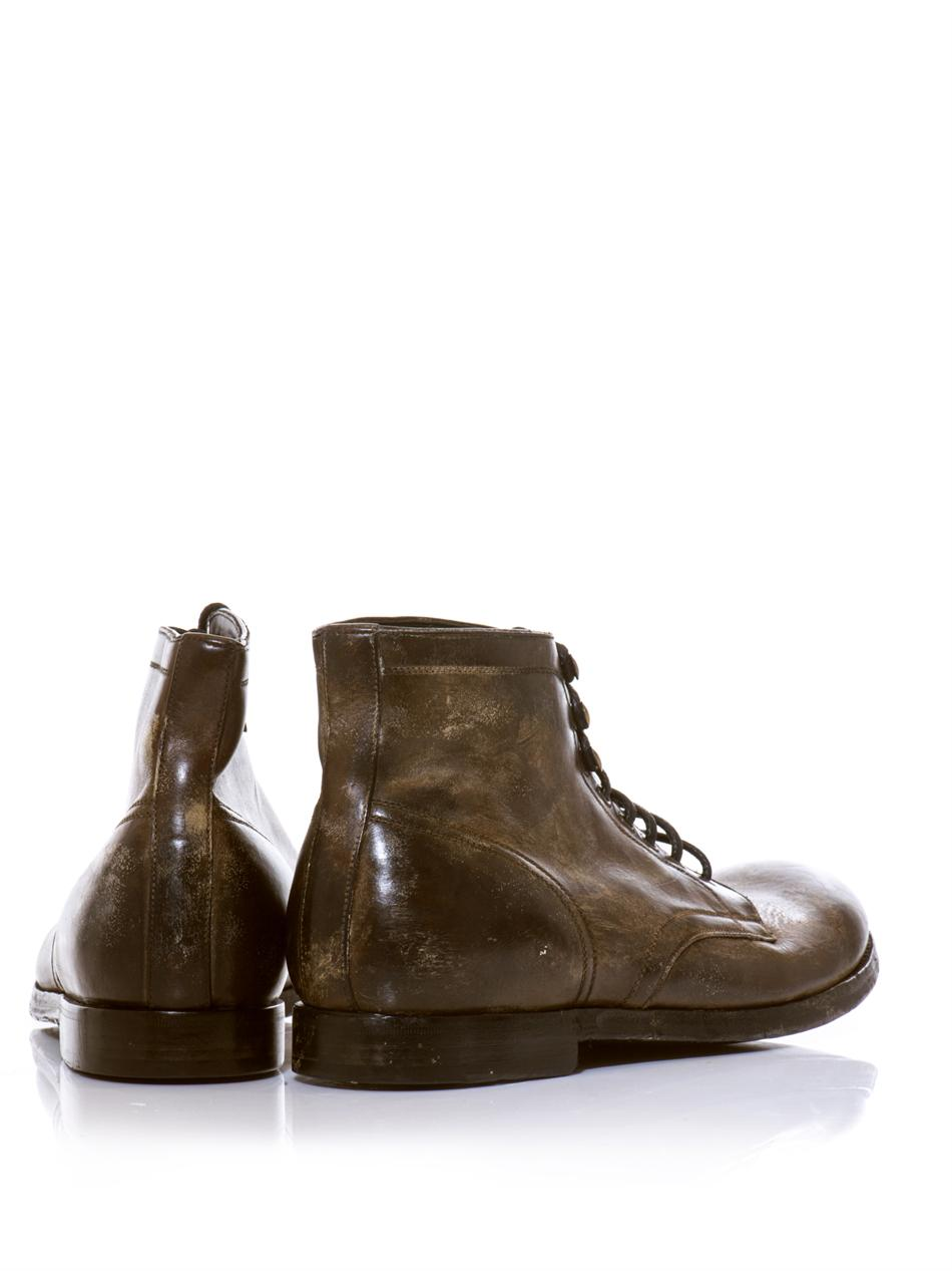 Lyst Dolce Amp Gabbana Distressed Leather Boots In Brown