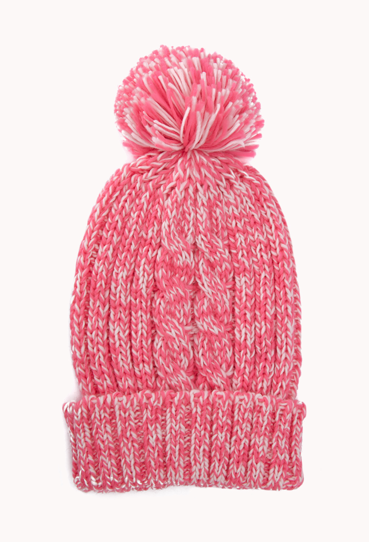 Forever 21 Speckled Pom Pom Beanie In Pink Neon Pink