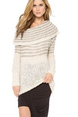 Free People Striped Cowl Sweater - Lyst