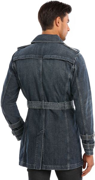 Guess Denim Trench Coat In Blue For Men Vokw Lyst