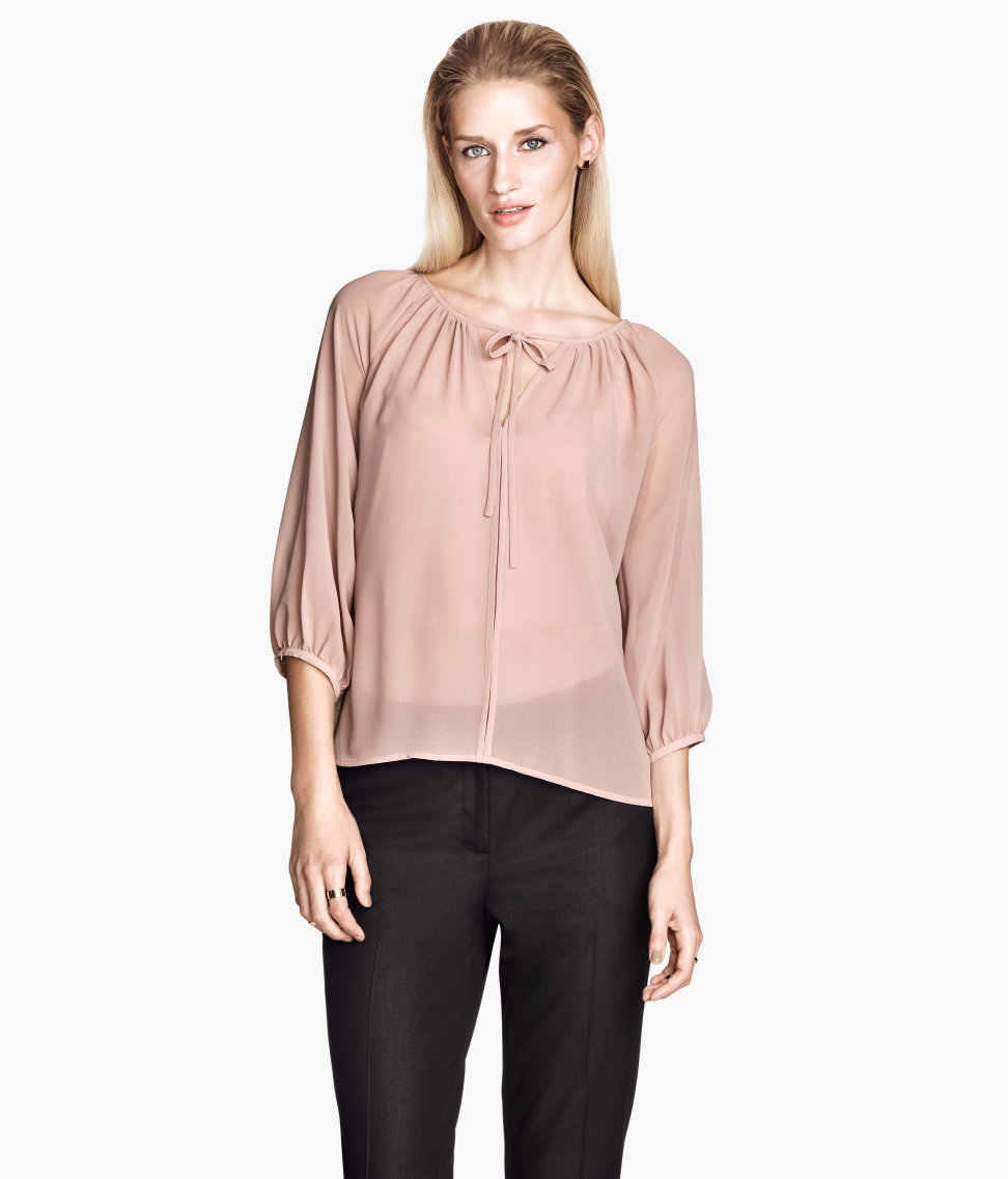 H&m Chiffon Blouse in Pink