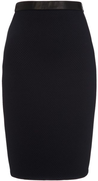 Jen Kao Black Neoprene Pencil Skirt - Lyst