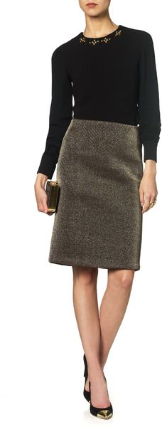 Jen Kao Gold Neoprene Pencil Skirt - Lyst