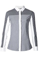 Jonathan Simkhai Stripe and Check Panel Shirt - Lyst