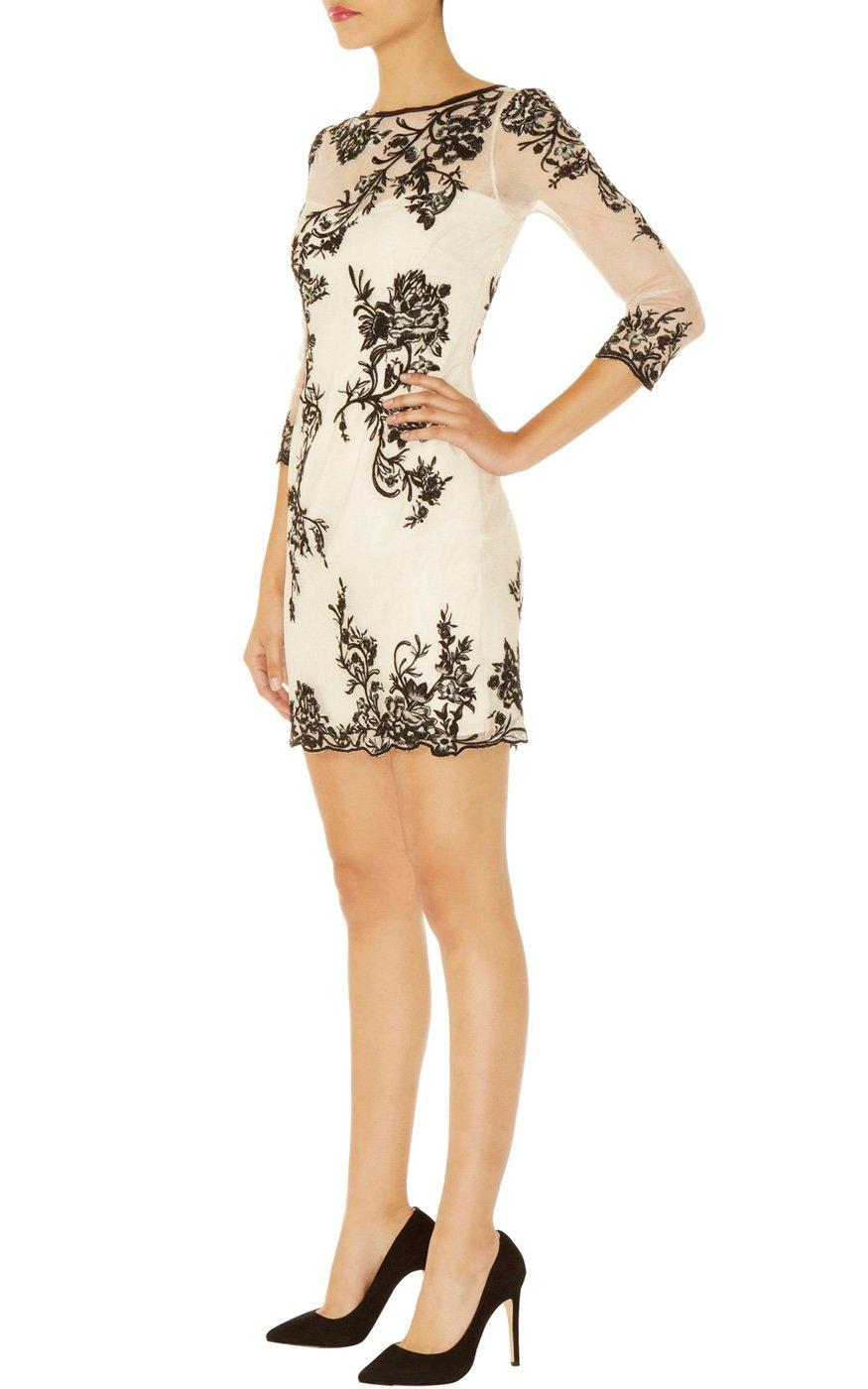 Karen Millen Long Sleeve Oriental Dress In Natural Lyst