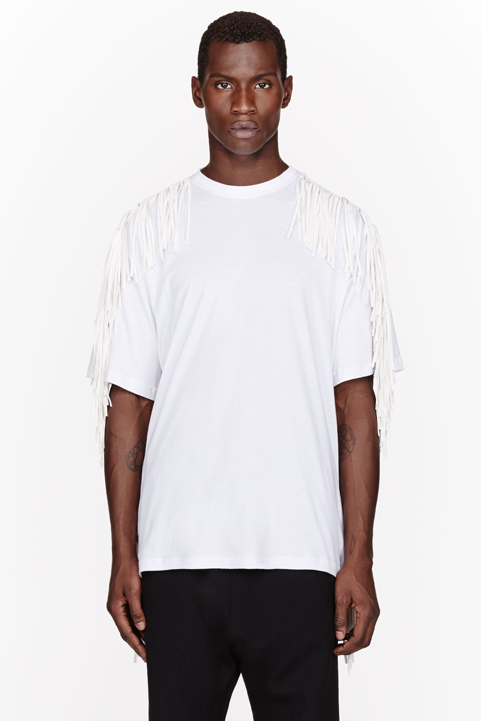 ktz white fringed t shirt in beige for men white lyst. Black Bedroom Furniture Sets. Home Design Ideas