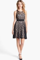 Milly Lace Fit Flare Dress - Lyst
