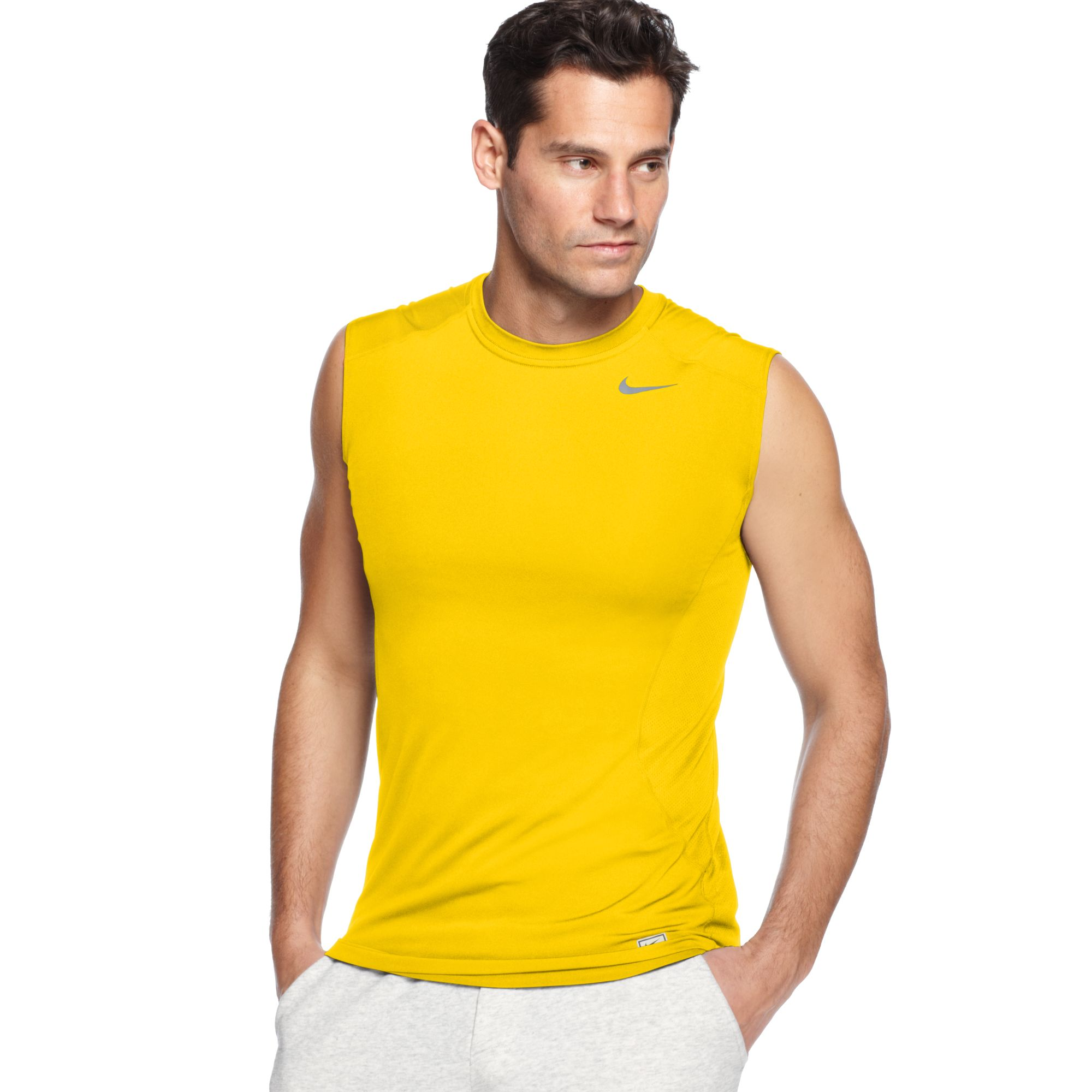 Lyst nike procombat drifit fitted sleeveless tee in for Nike men s pro cool sleeveless shirt