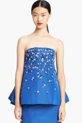 Oscar de la Renta Embroidered Silk Faille Cocktail Top - Lyst
