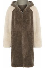 Paul & Joe Manaus Reversible Colorblock Shearling Coat