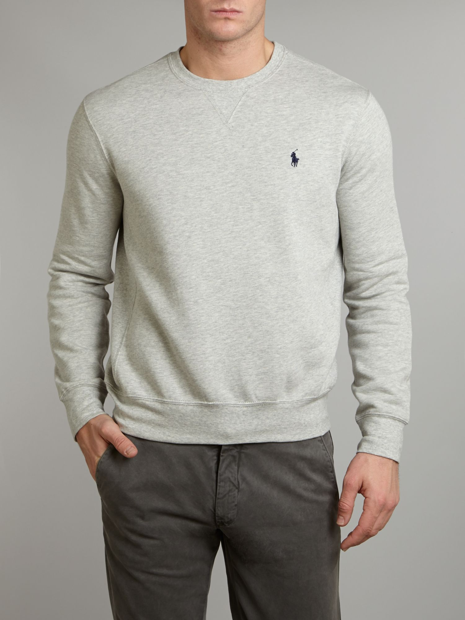 lyst polo ralph lauren classic crew neck sweater in gray. Black Bedroom Furniture Sets. Home Design Ideas
