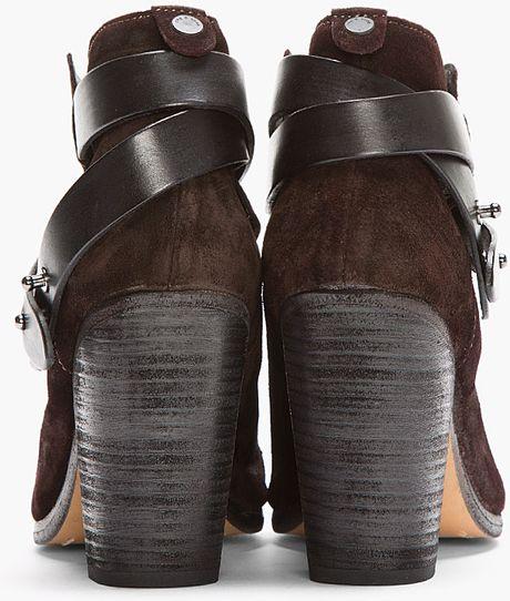 rag bone brown suede belted harrow boots in brown