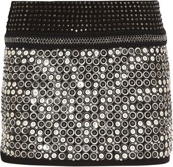 Roberto Cavalli Embellished Leather and Suede Mini Skirt - Lyst