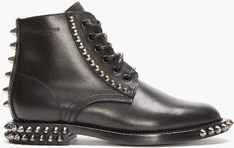 Saint Laurent Black Spiked Leather Lace_up Rangers Boots - Lyst