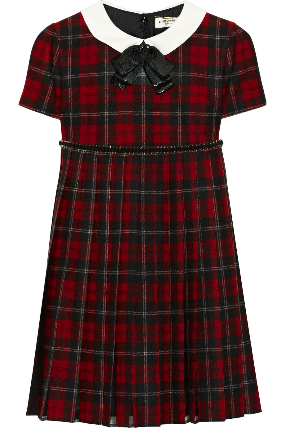 Lyst Saint Laurent Embellished Plaid Wool Dress In Red
