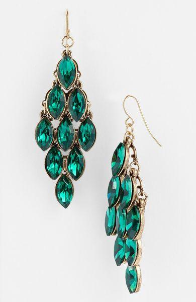 Tasha Crystal Chandelier Earrings In Green Emerald Multi
