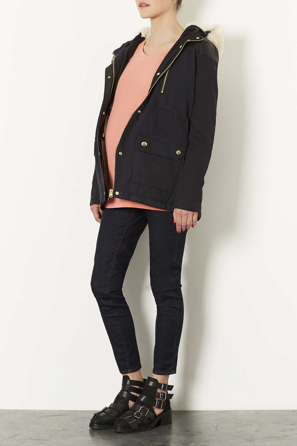 Topshop Maternity Fur Trim Borg Lined Short Parka in Blue | Lyst