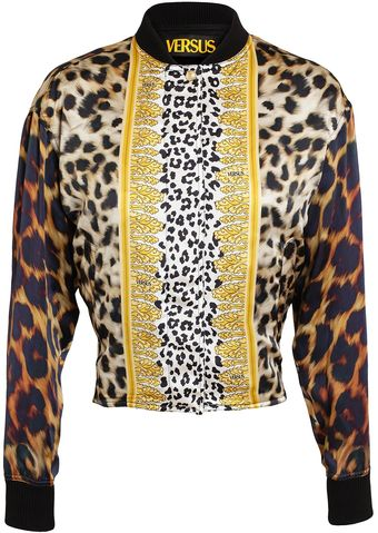 Versus  Animal Printed Silk Bomber Jacket - Lyst