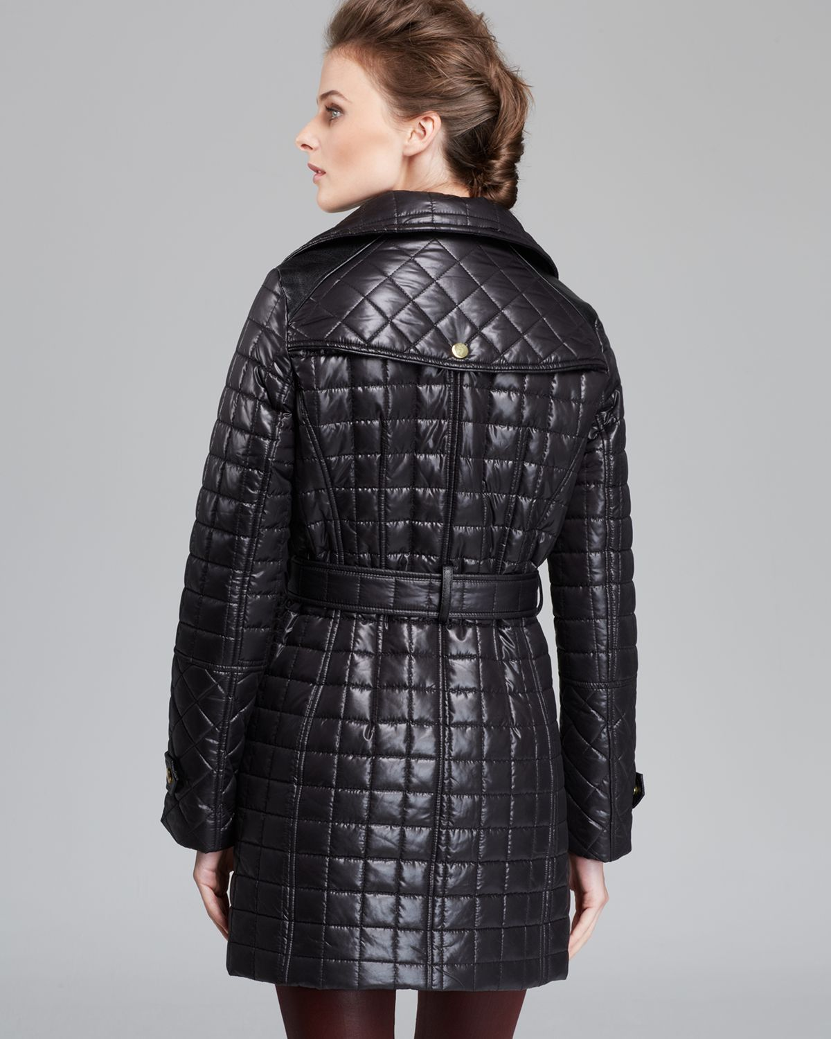 Via spiga Coat Quilted Asymmetric Zip Belted in Black | Lyst