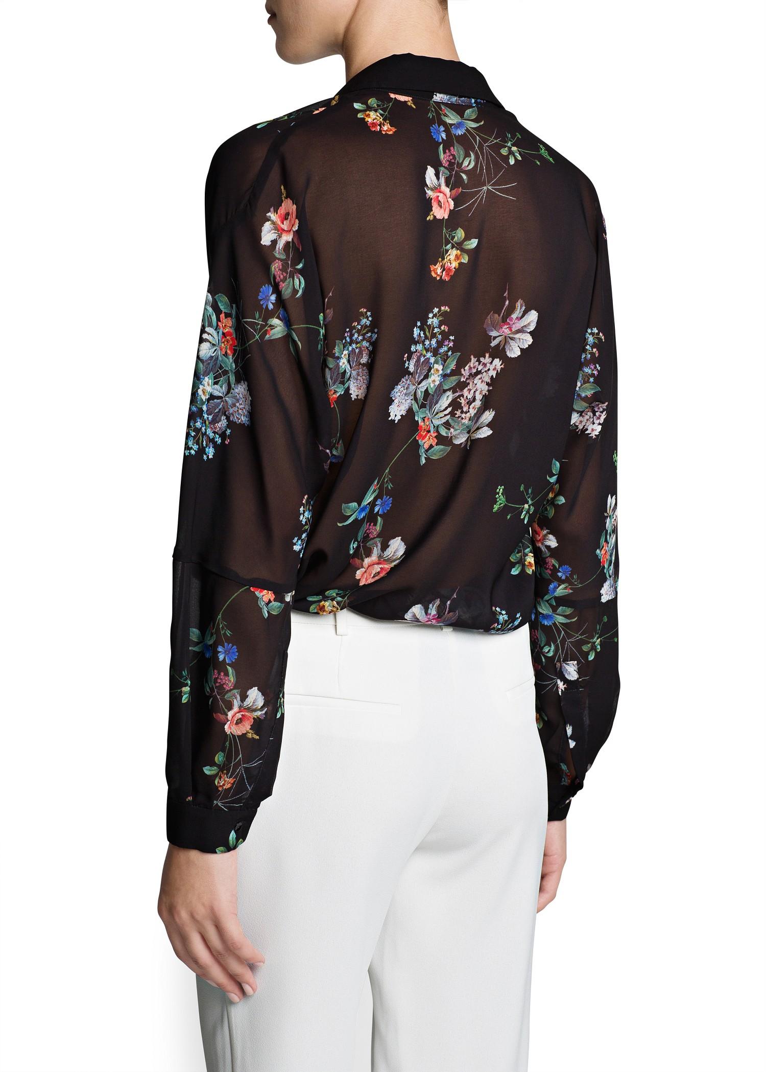 Lyst Mango Floral Print Lightweight Shirt In Black