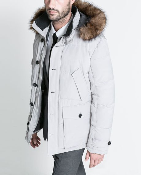 Zara White Three Quarter Length Coat With Fur Hood In