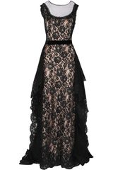 Alberta Ferretti Silk Ruffled Lace and Tulle Gown - Lyst