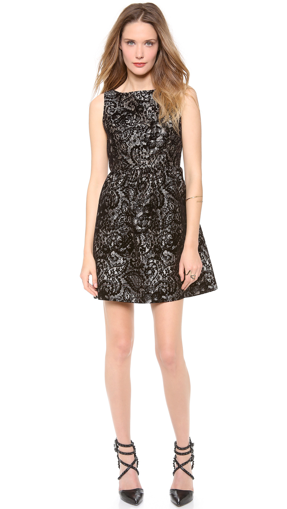 Lyst Alice Olivia Lillyanne Puff Skirt Mini Dress In Black