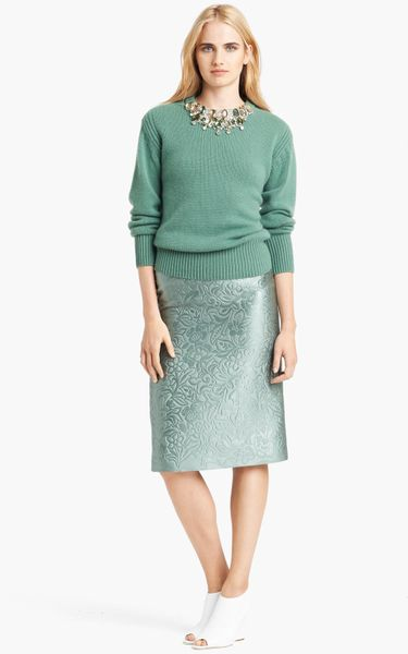 burberry prorsum embossed pencil skirt in green light