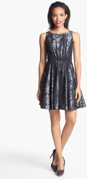 Jessica Simpson Floral Mesh Fit Flare Dress In Silver Lyst