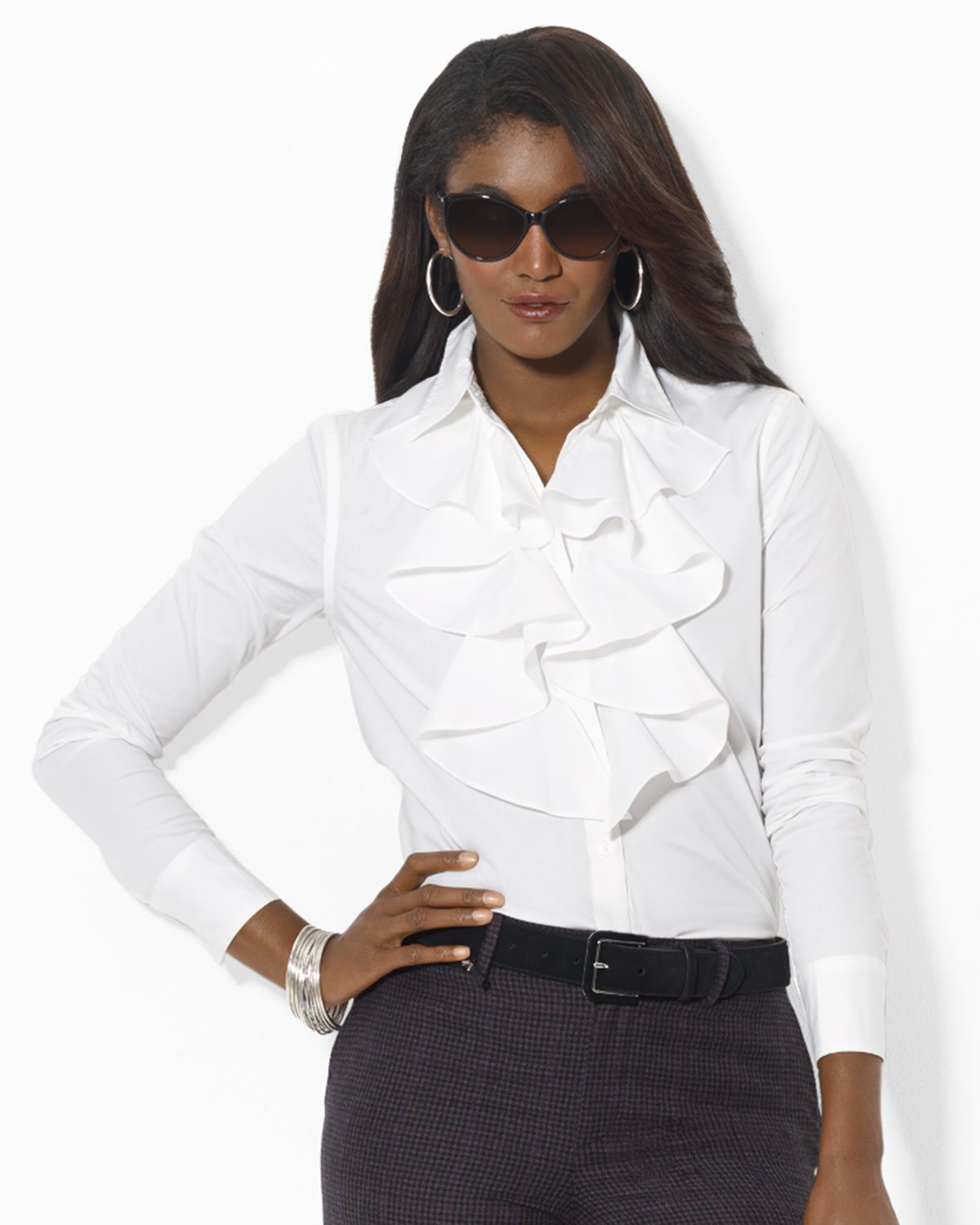 lauren by ralph lauren ruffle front shirt in white lyst. Black Bedroom Furniture Sets. Home Design Ideas