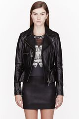 McQ by Alexander McQueen Black Pebbled Leather Biker Jacket - Lyst