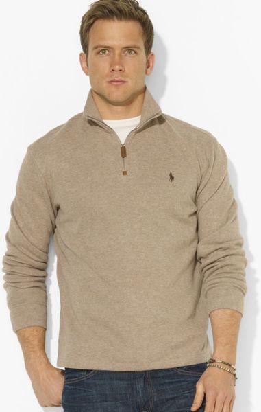 ralph lauren polo frenchrib halfzip mockneck pullover sweater in beige. Black Bedroom Furniture Sets. Home Design Ideas