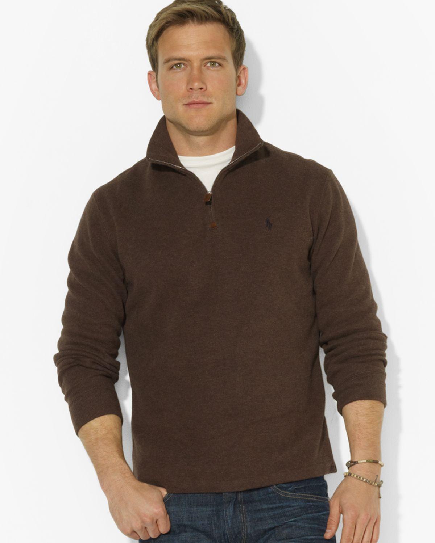 ralph lauren polo french rib half zip mock neck pullover sweater in brown for men alpine brown. Black Bedroom Furniture Sets. Home Design Ideas