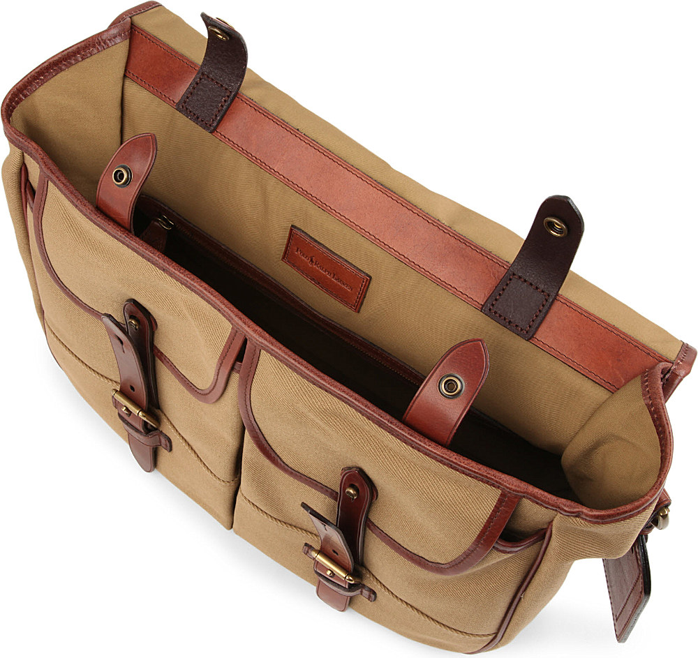 Ralph Lauren. Brown Canvas and Leather Messenger Bag