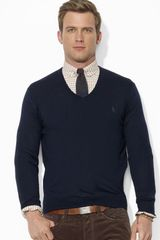 Ralph Lauren Polo Merino Wool V-neck Sweater - Lyst