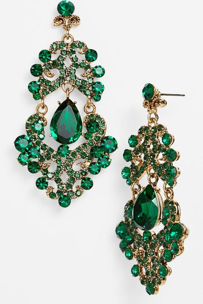 Tasha Ornate Chandelier Earrings In Green Emerald Multi