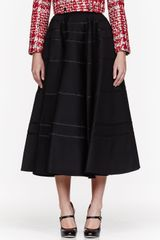 Thom Browne Black Wool Striped Circle Skirt - Lyst
