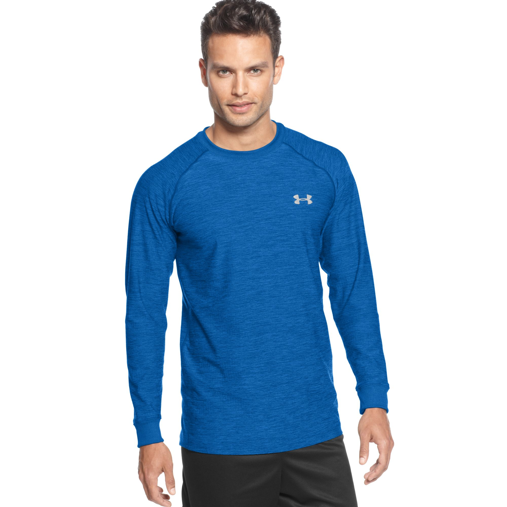 Under armour cold gear infrared longsleeve tshirt in blue for Under armour cold gear shirt mens