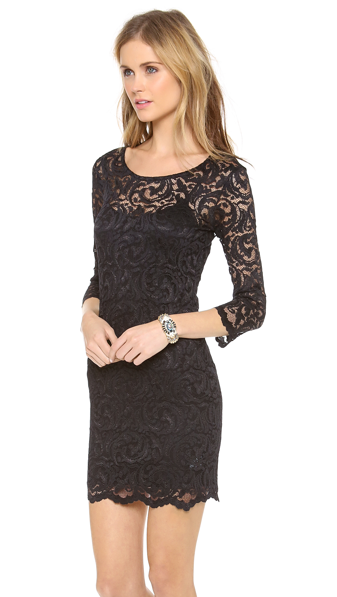 Velvet Long Sleeve Stretch Lace Dress In Black Lyst