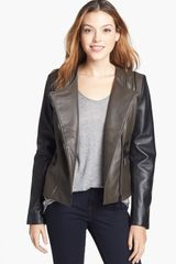 Vince Camuto Twotone Collarless Leather Moto Jacket - Lyst