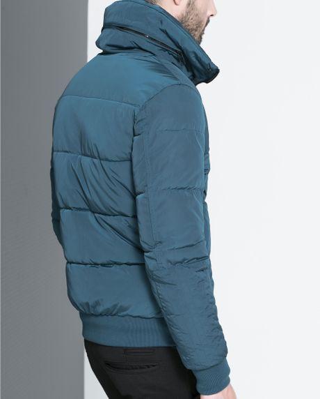 Zara Basic Puffer Jacket In Blue For Men Bluish Lyst
