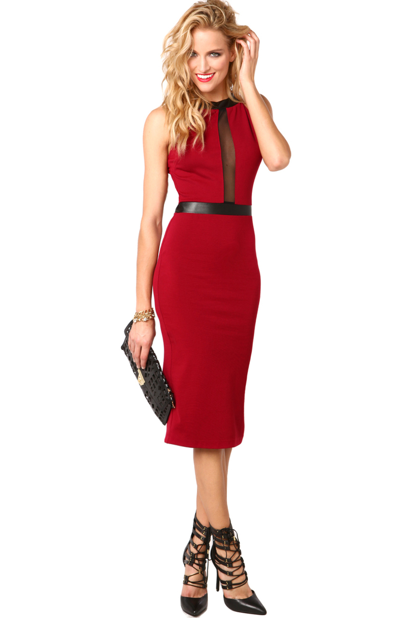 Lyst Akira Pleather Accent Mid Length Dress In Red