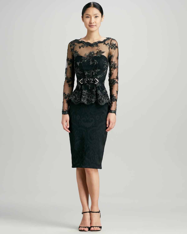 Lyst - Badgley Mischka Lace Peplum Brocade Cocktail Dress in Black