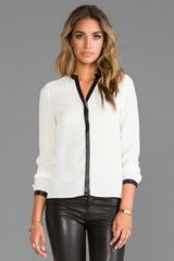Blaque Label Leather Trim Blouse in Ivory - Lyst