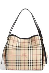Burberry Haymarket Check Small Tote - Lyst